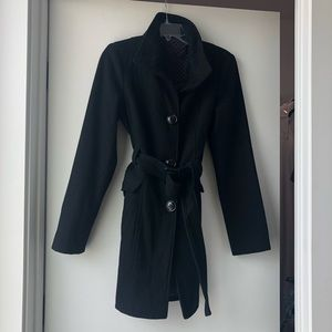 Steve Madden Black Wool Pea Coat